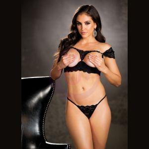 Shelf Bra and Panty Set - Extra Large - Black