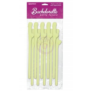 Bachelorette Party Favors - Dicky Sipping Straws - Glow-in-the-Dark - 10 Piece