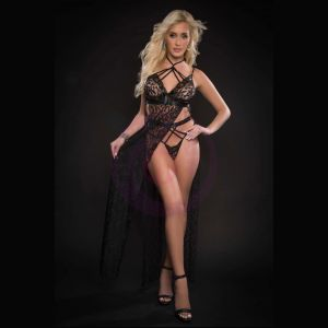 2pc Strappy Halter Laced Night Gown With Side Slits and Open Back - One Size - Black