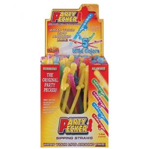 Party Pecker Sipping Straws 5 Assorted Colors 144 Pcs Display