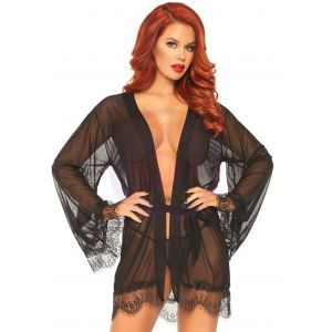 3 Pc Sheer Short Robe With Eyelash Lace Trim and Flared Sleeves - Black - S/m