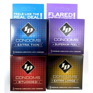 ID Condoms - Case of 72 - 3 Packs - Assorted Styles
