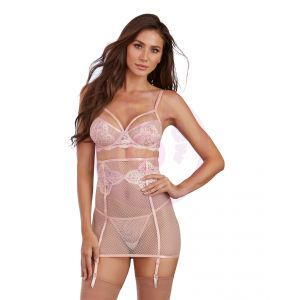 3 Piece Bra, Garterskirt, & G-String Set - Large - Peach