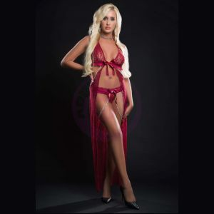 2pc Cut Out Open Front Flyaway Night Gown Adorned Pearl Chains and Panty - One Size - Red Berry