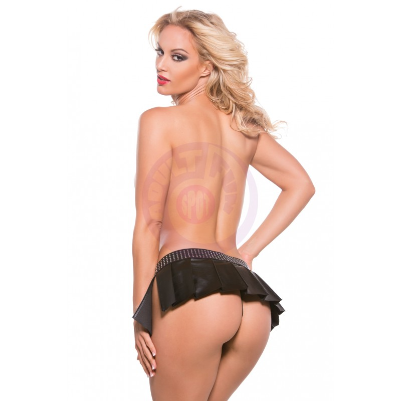 Xoxo Faux Leather Pleated Skirt With Attached G-  String - One Size