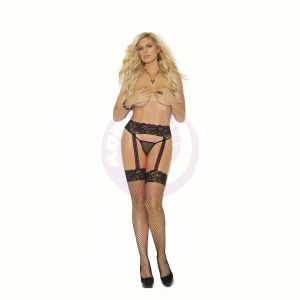 Diamond Net Thigh Hi With Backseam and Lace  Garter Belt - Queen Size - Black