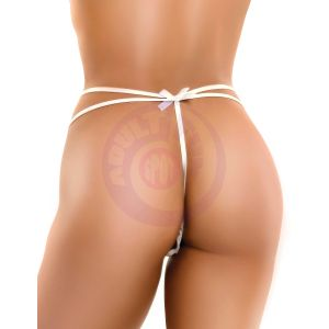 Hookup Panties Remote Bow-Tie G-String - White - Small - Large