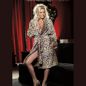 Leopard Fluffy Robe - One Size