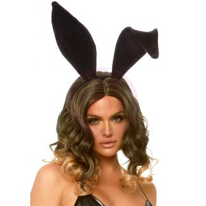 Velvet Bunny Ear Headband - Black