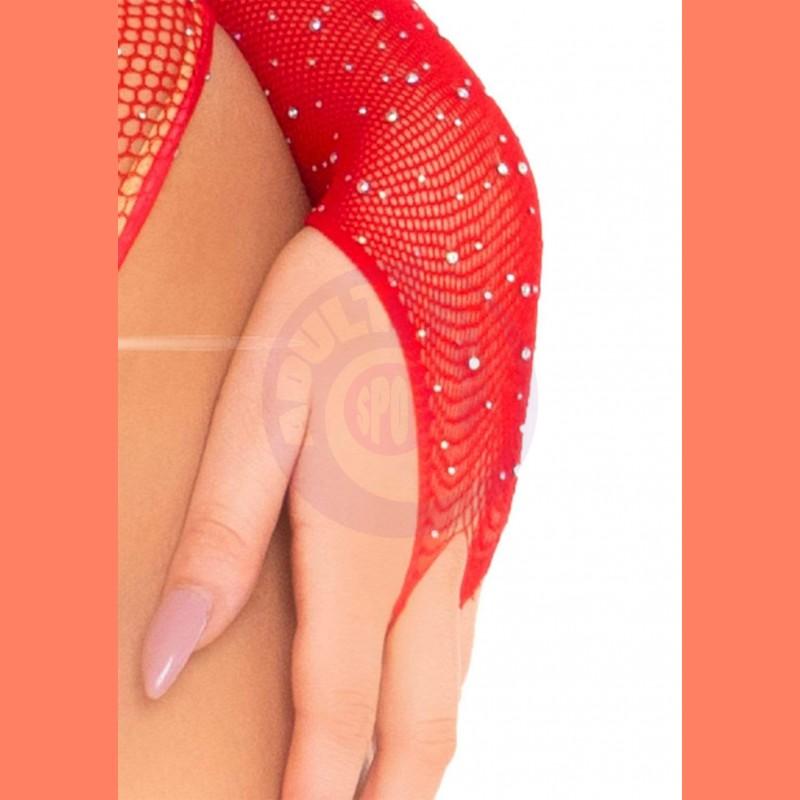 Crystalized Long Sleeve Fishnet Thong Back Bodysuit - One Size - Red