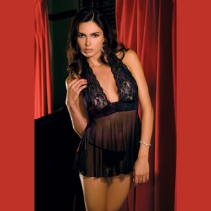 2-Piece Lace and Mesh Halter Babydoll and  G-String Set - Medium - Black
