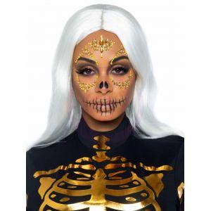 Sugar Skull Adhesive Face Jewels Sticker - Gold