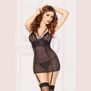 Chemise With Garter & Thong - Large - Black