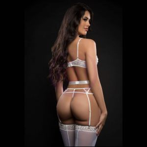 4pc Caged Wired Bra and Garter Cut Out Cage Panty  With Stocking - One Size - White