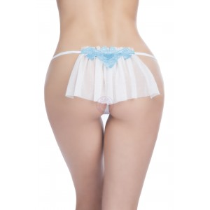 Bridal Thong With Embroidered Applique and Veil Back - 1x/2x - White