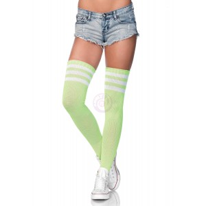 3 Stripes Athletic Ribbed Thigh Highs - One Size - Neon Green