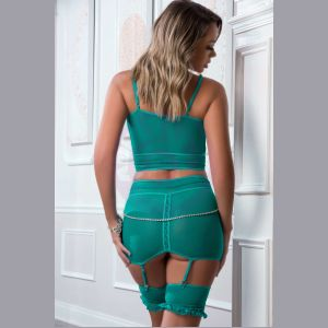 3 Pc. Defining Bustier and Garter Skirt With Pearled Chain - Teal Turquoise