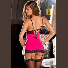 2 Piece Lace and Mesh Hollywood Chemise and G-String - Small/ Medium - Hot Pink