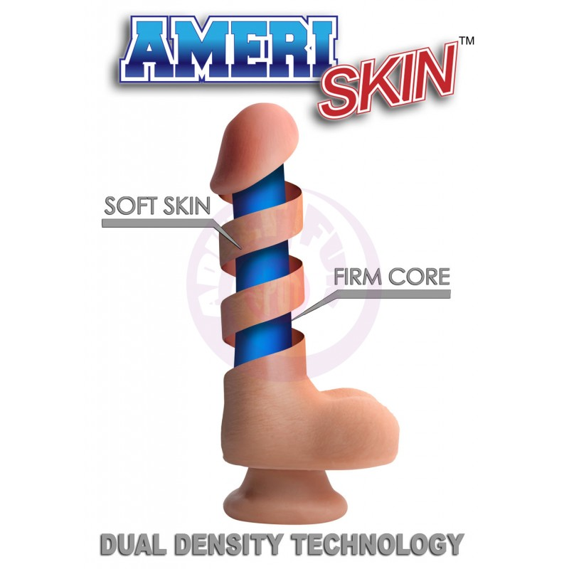 8 Inch Ultra Real Dual Layer Suction Cup Dildo - Medium Tone Skin