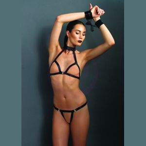 Kink Open Cup Halter Bra and G-String Set With Restraints - One Size