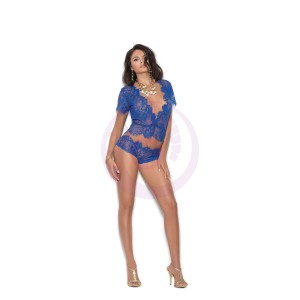 Eyelash Lace Short Sleeve Plunge Cami Top With Matching Panty - Large - Royal Blue