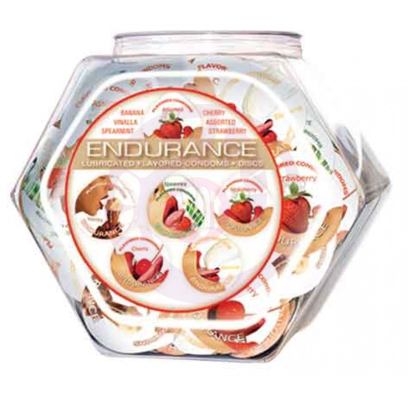 Endurance Lubricated Flavored Condoms - 144 Piece Fishbowl - Assorted
