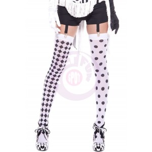 Diamond Design and Polka Dot Harlequin Thigh Hi - White / Black