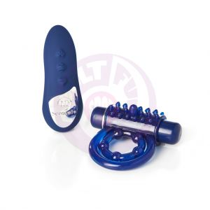Sensuelle Remote Control 15 Function Rechargeable Bullet Ring - Blue
