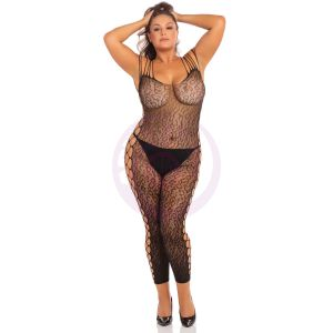 Animal Crotchless Bodystocking - Black - 3x4x