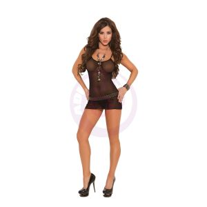 Fishnet Mini Dress With G-String - One Size - Black