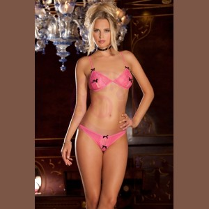 2pc Peek-a-Boo Bra and Crotchless  - Medium/large - Pink