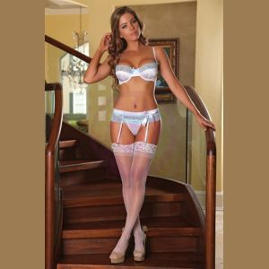 Bra Garter and G-String Set 3x-4x - White