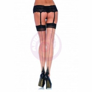 2 Tone Stockings - Queen Size - Nude/ Black