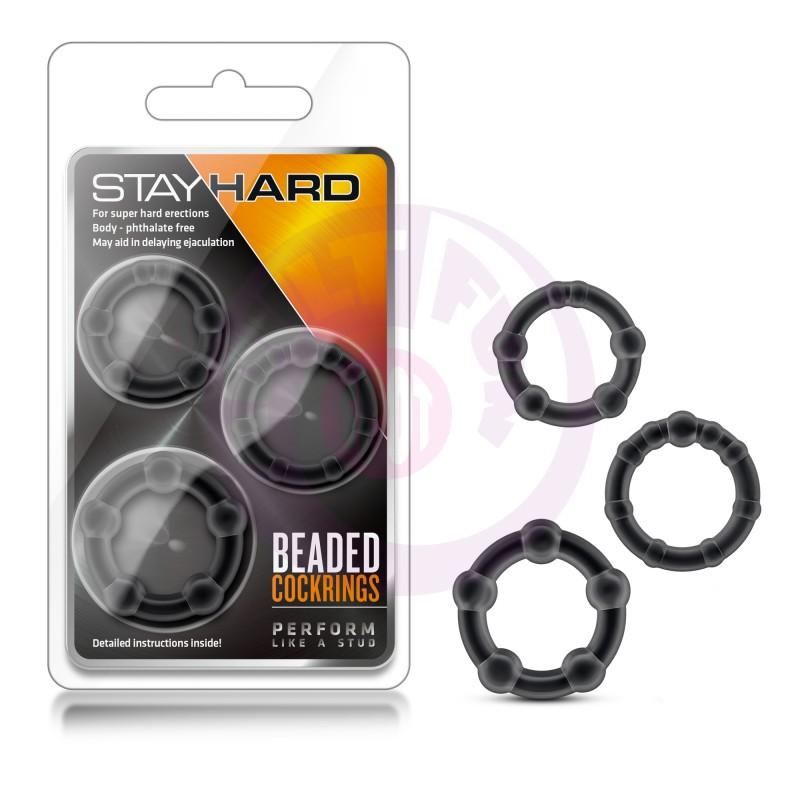 Stay Hard Beaded Cockrings - 3 Pack - Black