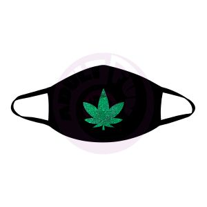 Dope Af Green Glitter Weed Leaf Black Face Mask With Black Trim