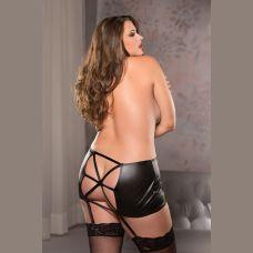 Classic Garter Skirt - Black - One Size Plus Size