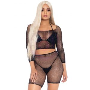 2 Pc Rhinestone Fishnet Crop Top and Biker  Shorts - Black - One Size