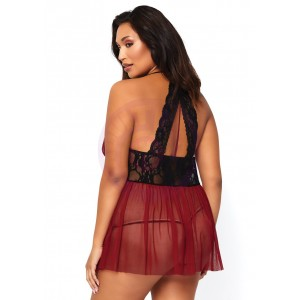 2 Pc. Babydoll Set - 1x2x- Burgundy