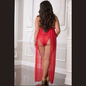 1 Pc. Zipper Crotch Teddy Gown - Red - Queen Size