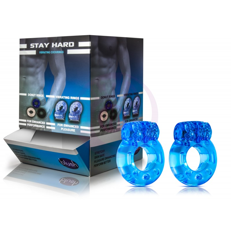 Stay Hard Disposable Vibrating Cockrings - 32 Piece Display
