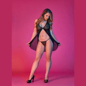 Sexy Time Fly Away Baby Doll and G-String Set - Black - L/xl