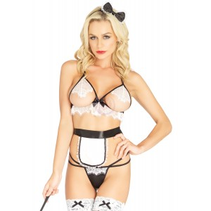 4 Pc. Naughty French Maid - One Size - Black/  White