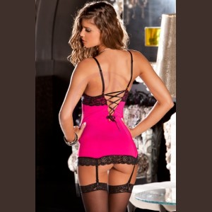 2 Piece Lace and Mesh Hollywood Chemise and G-String - Medium/ Large - Hot Pink