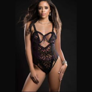 1pc Queen of Hearts Laced Teddy With Open Rear View Half Open Cups - One Size - Blackout
