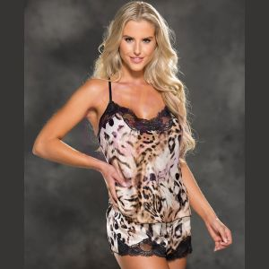 Cami and Shorts Set - Leopard Print - Extra Large