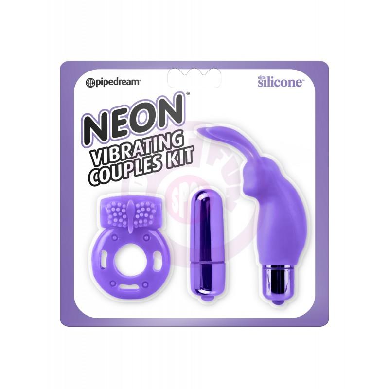 Neon Vibrating Couples Kit - Purple