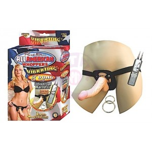 "All American Whoppers Vibrating 8"" Dong With Unversal Harness - Light"