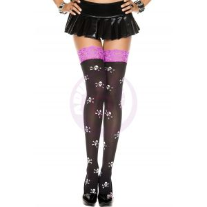 Lace Top Cross Skull Print Opaque Thigh Hi - One Size - Black / Purple