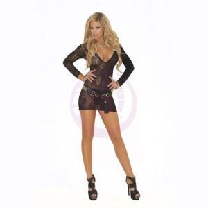 Deep v Lace Long Sleeve Mini Dress  - One Size - Black