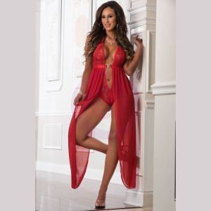 Zipper Crotch Teddy Gown - One Size - Red